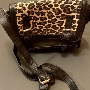 Black & Brown Cheetah Print Small 3 Pocket Bag